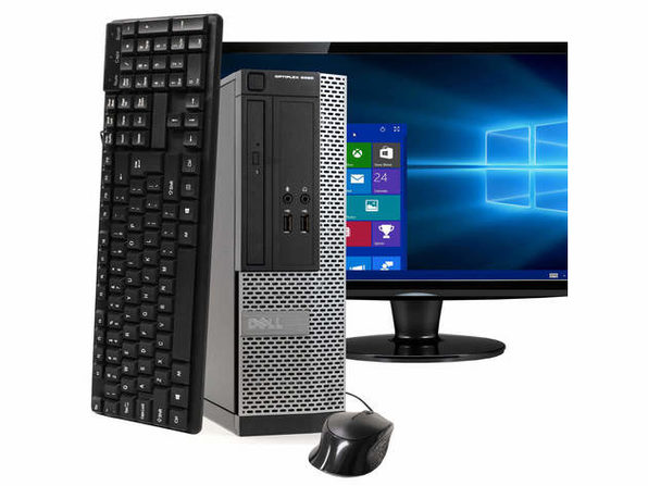"戴尔电脑 OptiPlex 3020小型PC,3.2GHz Intel i5四核Gen 4、16GB RAM,240GB SSD,Windows 10 Home 64位,22"" Screen (Renewed)"