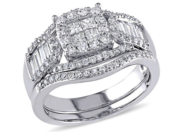 Princess Cut Diamond Engagement Ring & Wedding Band Set 1.20 Carat (ctw Clarity I2-I3 Color H-I ) in 14K White Gold - 7