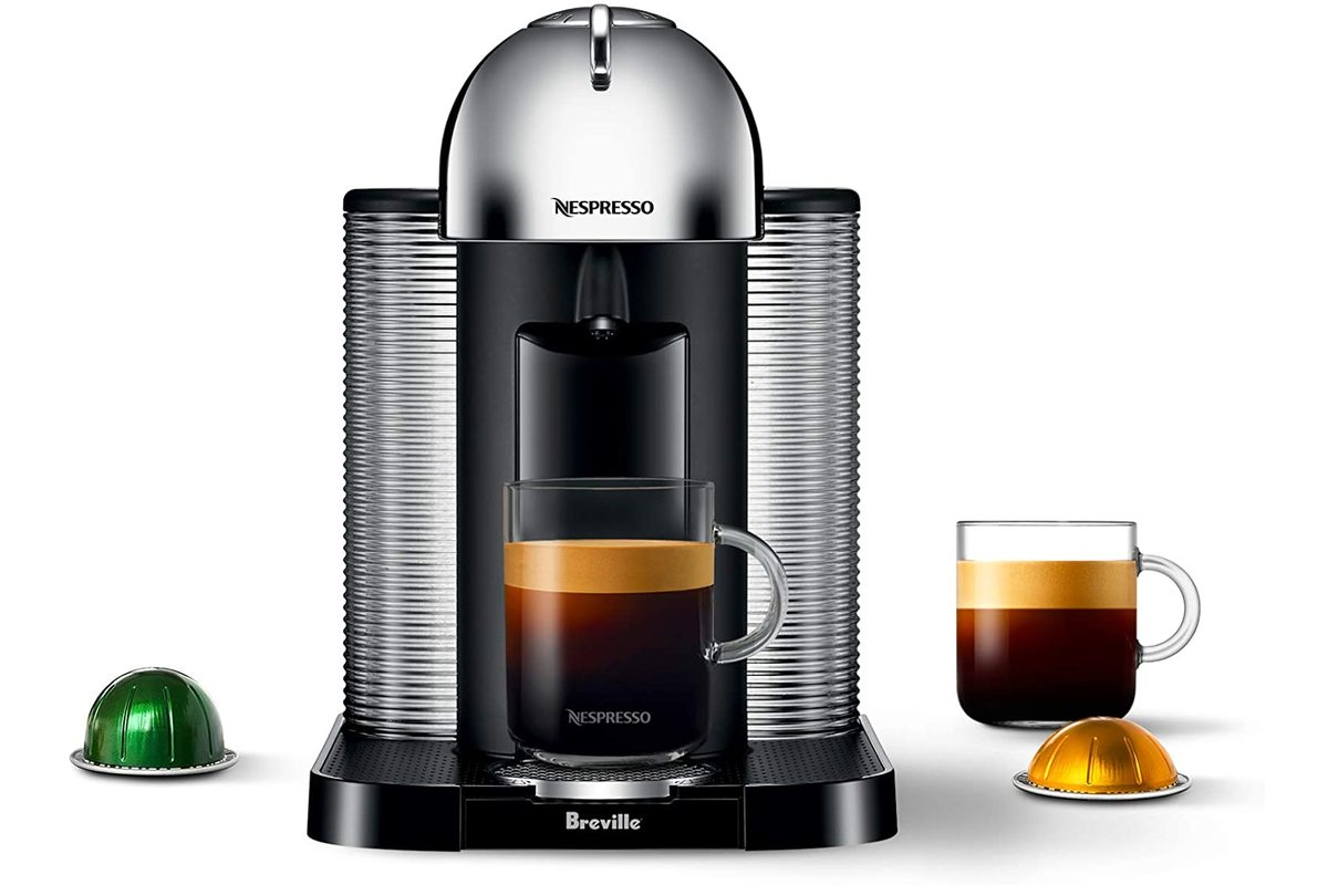 Breville Nespresso Vertuo Automatic Eject Coffee and Espresso Maker Machine, Chrome, on sale for $204.92
