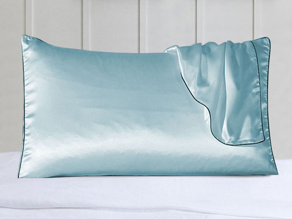 100% Silk Pillowcase Set With Trim Blue - Product Image