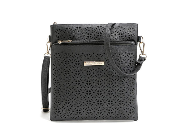 Blossom Handbag With Cut-Out Flower Design (Black)