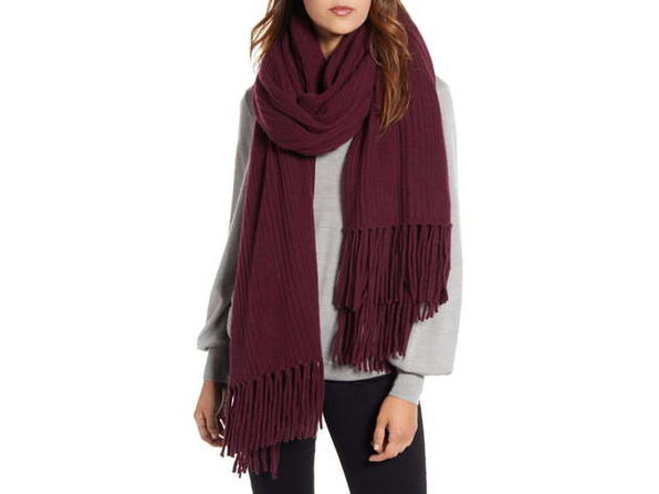 HALOGEN Rib 100% Cashmere Super Versatile Fringe Wrap, A Casually Luxe Layering Piece That's Super Versatile, One Size, Burgundy