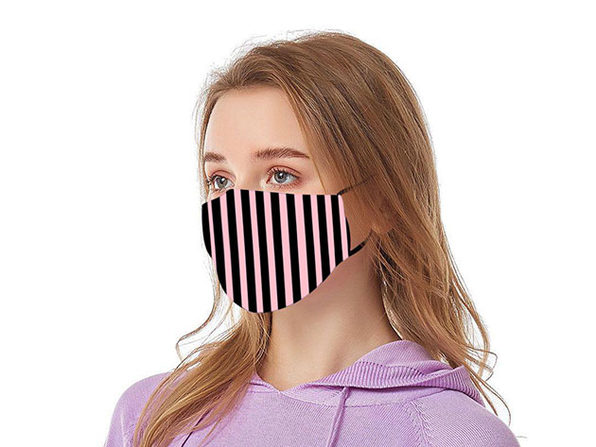 Reusable Ear Loop Face Mask 4-Pack Black & Pink Stripes - Product Image