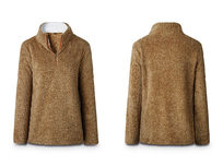 Half Zip Furry Pullover- Brown Small - Product Image
