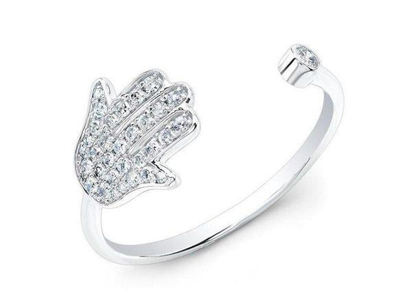 Homvare Women's 925 Sterling Silver Hamsa Cuff Ring - Silver