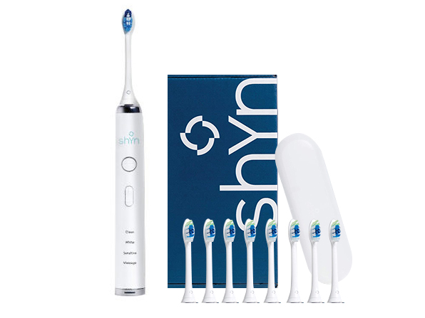 Shyn Sonic Rechargeable Electric Toothbrush with 8 Whitening Brush Heads, Charger, and Travel Case, now on sale for $59.99 (64% off)
