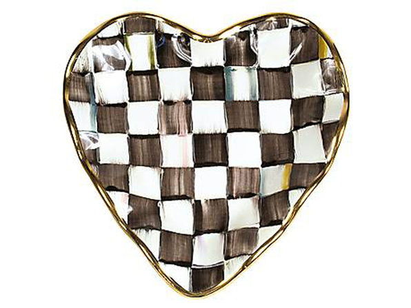 MacKenzie-Childs Courtly Check Fluted Heart Plate - Product Image