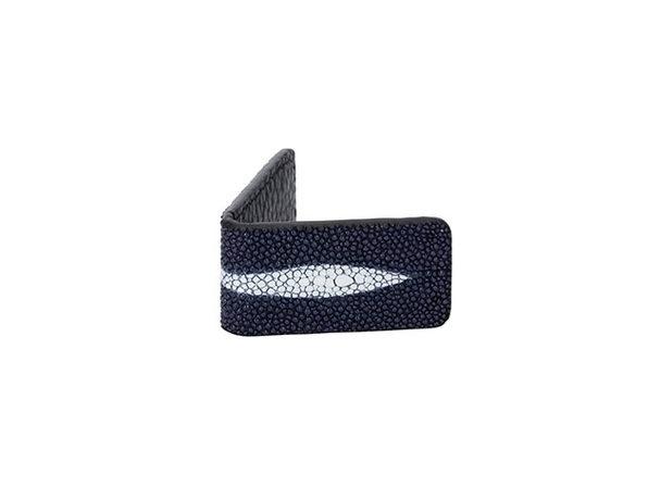 Andre Giroud Exotic Stingray Mini Money Clip - Navy Blue - Product Image
