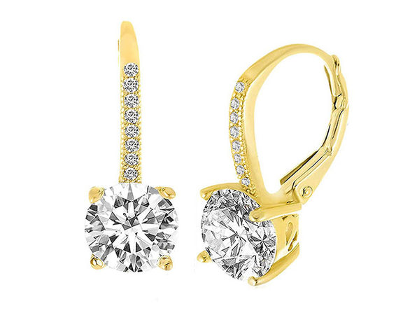 Leverback Earrings with Swarovski Elements (Gold)
