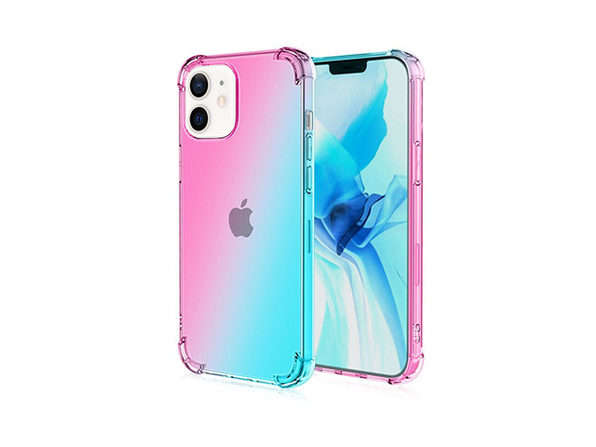 iPhone 12 mini Dual Tone Case Pink & Teal - Product Image