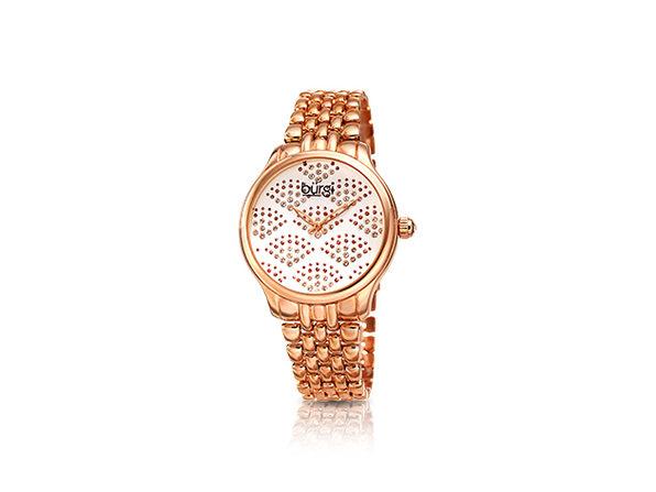 Bürgi Diamond Sparkle Bracelet Watch with Swarovski Crystals (Rose Gold)