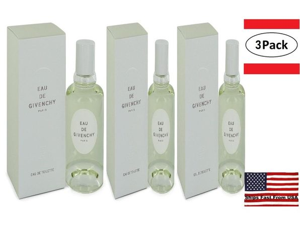 3 Pack EAU DE GIVENCHY by Givenchy Eau De Toilette Spray 3.4 oz for Women