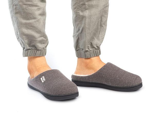 Men's Original Two-Tone Memory Foam Slippers (Gray/Natural, Size 13-14)