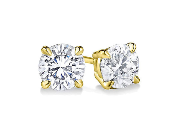 Yellow Gold Sterling Silver 4-Prong Diamond Stud Earrings