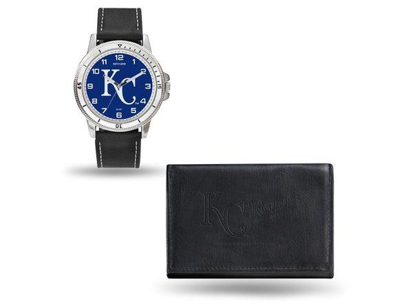 MLB Mens Kansas City Royals Black Leather Watch/Wallet Set - Product Image
