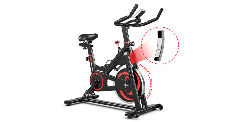 A black and red stationary bike