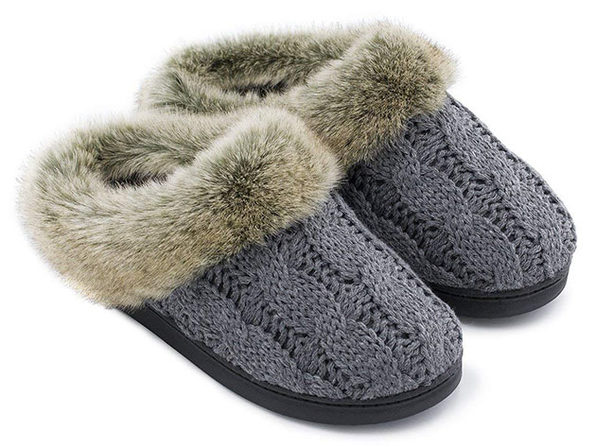 Women's Soft Yarn Cable Knitted Memory Foam Slippers (Gray, Size 7-8)