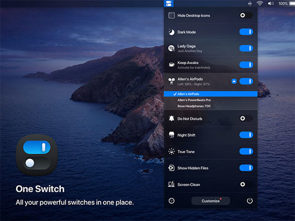 One Switch Menu Bar App for Mac (1 Device)