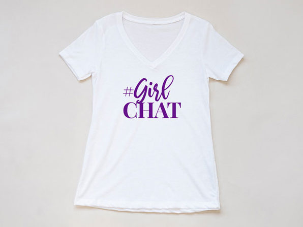 "'The Real' ""#GirlChat"" White V-Neck T-Shirt"