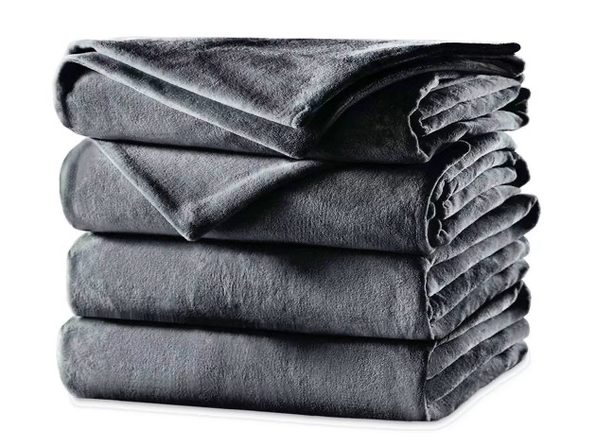 Sunbeam Velvet Plush Electric Heated Blanket King Size Slate Grey Washable Auto Shut Off 20 Heat Settings - Slate