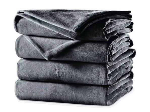 Sunbeam Velvet Plush Electric Heated Blanket King Size Slate Grey Washable Auto Shut Off 20 Heat Settings - Slate