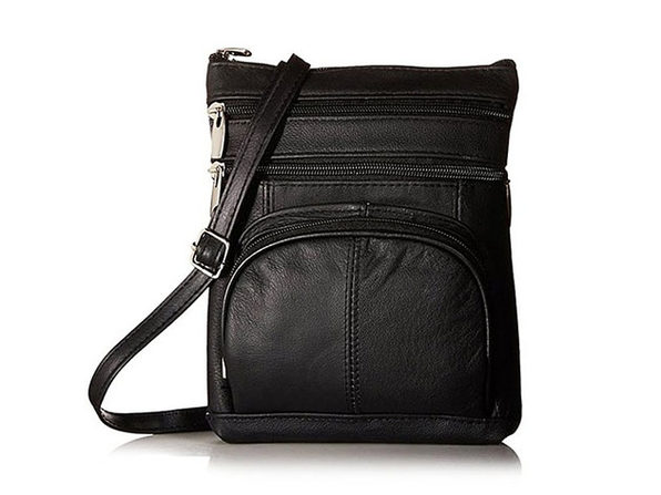Ultra-Soft Leather Crossbody Bag - Black - Product Image
