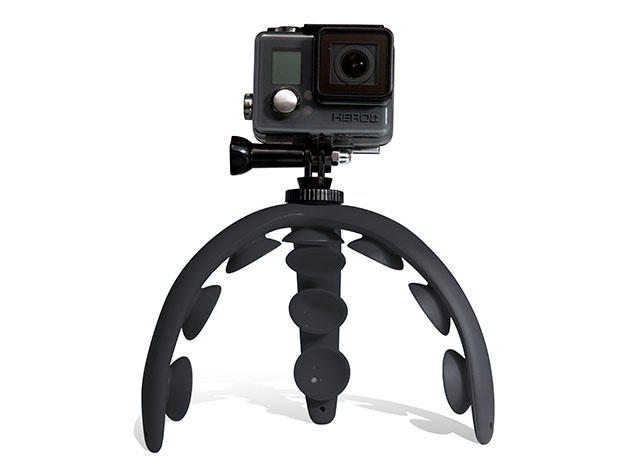 A tripod with suction pads.