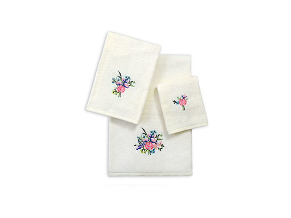 3-Piece Zero Twist Embroidered Towel Set (Ivory/Roses)