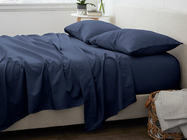 Home Collection Premium Ultra Soft 4-Piece Bed Sheet Set (Navy/King)