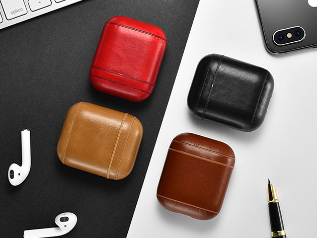 Leather AirPod Case (Pebble/Red) | iLounge Deals