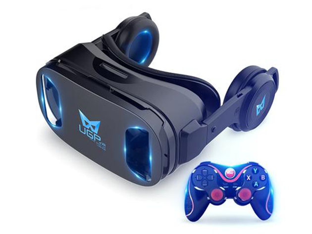 A VR headset and controller