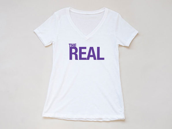 The Real Logo White V Neck-S - Product Image
