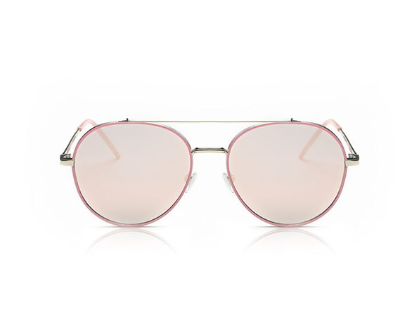 Mavis Classic Mirrored Aviator Sunglasses (Pink)