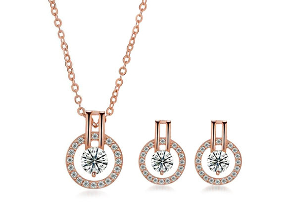 Linda Simulated Diamond Necklace and Earring Set- Gold - Product Image