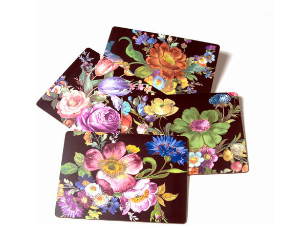 "MacKenzie-Childs Flower Market Placemats - Black 12"" wide, 16"" long - Set of 4 - Product Image"