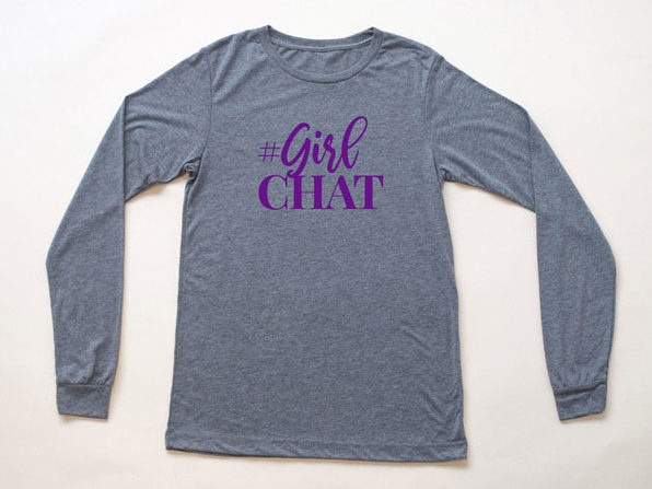 Girl Chat Logo Heather Grey Long Sleeve Shirt-S - Product Image