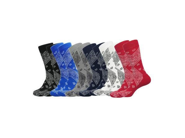 Daydana Latest Trend Mens One Size Crew Cotton Paisley Bandana Socks - 6 Pairs - White