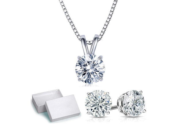 Solitaire Necklace & Earrings with Swarovski Crystals