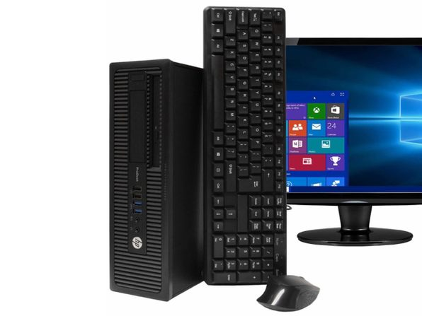 "HP ProDesk 600G1 Desktop PC, 3.2GHz Intel i5 Quad Core Gen 4, 8GB RAM, 240GB SSD, Windows 10 Home 64 bit, 22"" Screen (Renewed)"