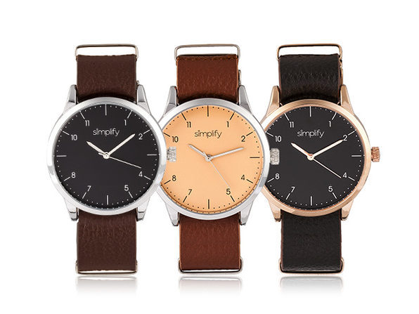 Simplify 5600 Series Leather Band Watch