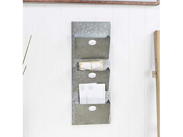 Cheung's FP-3732 Galvanized Finish Metal Mail 3 Pocket Wall organizer Storage (Distressed Box)