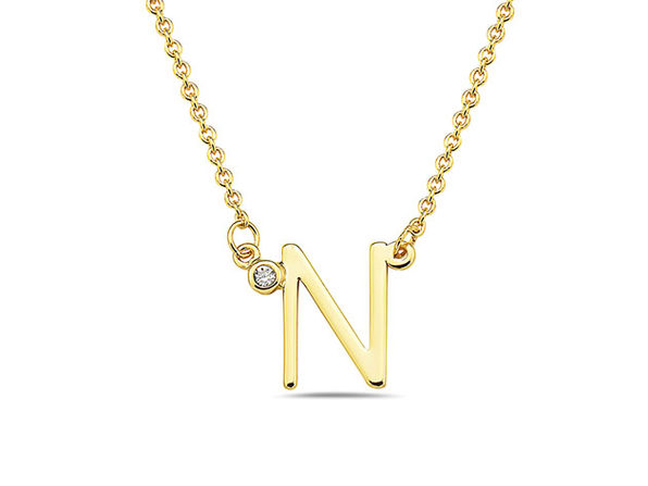 18K Gold Plated CZ Initial Necklaces - N - Product Image