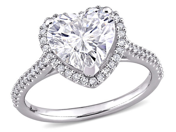 3.00 Carat (ctw) Lab-Created Moissanite Heart Engagement Ring in 14k White Gold with 1/4 carat (ctw) Diamonds (G-H, I1;I2) - 6