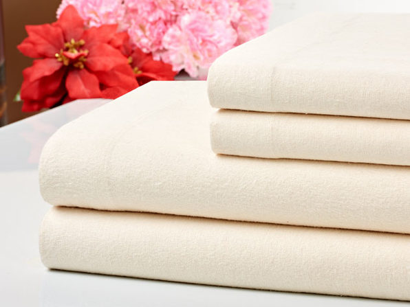Bibb Home 100% Cotton Flannel Ivory Sheet Set (King)