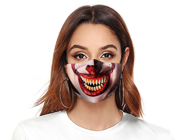 Halloween Reusable Cloth Face Mask (Scary Clown), on sale for $14.99 (40% off)