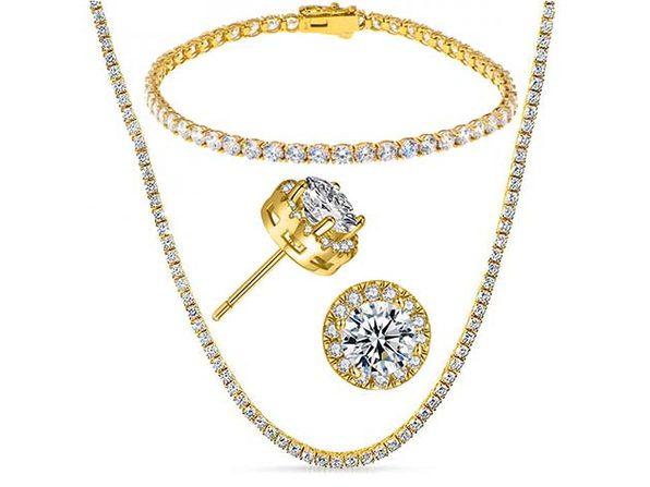White Swarovski Multi-Stone Tennis Necklace, Bracelet & Stud Earrings Gold - Product Image
