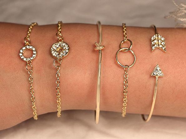 Pav'e Loveknot 5 Piece Bracelet Set Gold - Product Image
