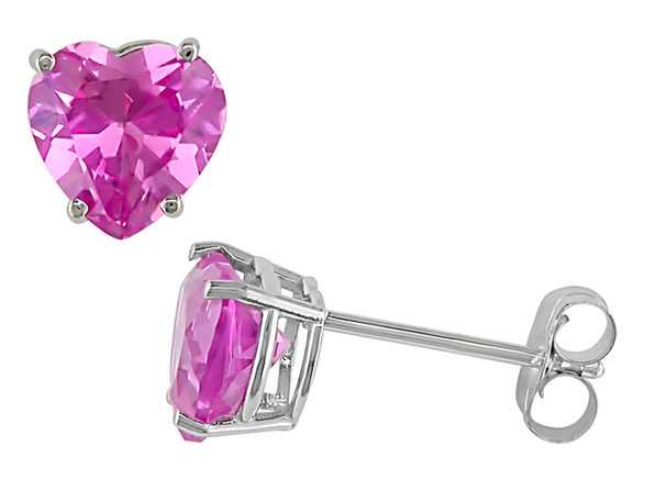 Created Pink Sapphire Stud Heart Earrings 2.0 Carat (ctw) in 10K White Gold