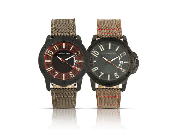 Morphic M70 Series Canvas-Overlaid Leather-Band Watch