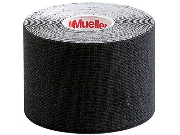 Mueller Kinesiology 100 % Cotton Tape 2 x 16.4 inches, Latex-free & Breathable Elastic, 1 Pack, Universal, Black